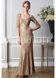 Noble Satin And Lace V-Neck Gold Beading Mother of the Bride Dress