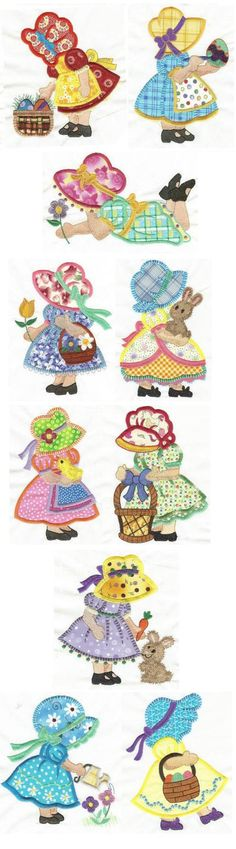 Easter Sunbonnet Belles applique design set available for instant download at www.designsbyjuju.com