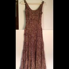 Beautiful flowing dress Fully lined, slightly used beautiful dress. 100 % poly, fully lined and flowing. Brown/ beige. Size 4. Makes you feel like a princess. Stunning!! new directions Dresses Maxi