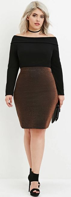 Plus Size Metallic Pencil Skirt