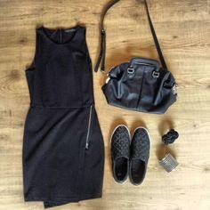 Minimalistic little black dress , slip ons