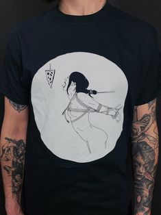 Shibari and Pizza T-Shirt / Rope Bondage Kinky BDSM Fetish Sub Tied up Girl / Erotic Tattoo Art / Screen Printed Black Tee