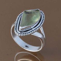 DESIGNER 925 STERLING SILVER PREHNITE RING 4.90g DJR8310 SZ-7 #Handmade #Ring