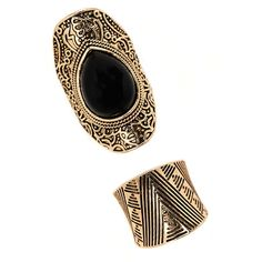 Forever 21 Faux Stone Etched Ring Set ($6.90) ❤ liked on Polyvore featuring jewelry, rings, imitation jewellery, imitation rings, stone jewellery, stone rings and artificial jewellery