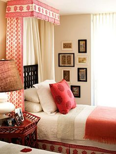 red & white bedroom from designer Barrie Benson