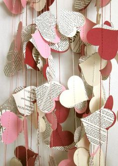 Items similar to Book Paper Garland - Cream Hearts Garland - Wedding Garland - Upcycled Paper Hearts - Valentine's Day on Etsy Diy Valentine's Day Decorations, Valentines Day Decorations, Valentine Day Crafts, Be My Valentine, Holiday Crafts, Hanging Paper Decorations, Valentines Presents, Saint Valentine, Birthday Decorations