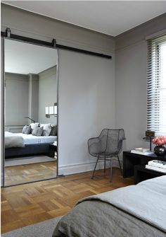 A Sliding Barn Door Mirror
