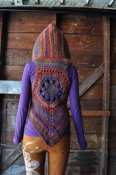 Mellow Rainbow Blossom Mandala Vest with Hood // Hooded Sleeveless Wool Sweater // Pixie Vest // Size Small
