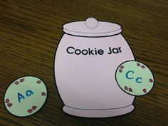 "Amazing Action Alphabet shares a fun review activity for preschoolers. Using a cookie jar template or clip art, or using an actual cookie jar view letters and sounds using the song ""who stole the cookie from the cookie jar. #amazingactionalphabet #teachkids game 