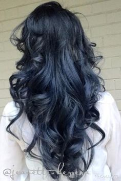 "We fell in love with this ""blue steel"" finish by Jeanette Herrera ( of Hugo Salon in Kensigton, MD and asked for the formula. Here she shares on her client with hair previously lifted from a natural level 5 to an ombré with level 8 ends: Blue Steel Hair, Hair Color Ideas For Black Hair, Navy Hair, Blue Black Hair Color, Dark Blue Hair, Black Dark, Blue Ombre, Brown Hair, Dyed Hair Blue"