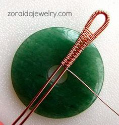 How to use wire to weave a bail for a donut. #Wire #Jewelry #Tutorials