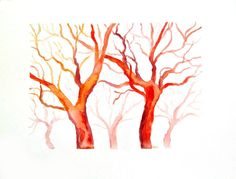 Red trees original watercolor painting by AndreaPaintings on Etsy, $30.00