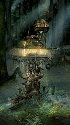 63 Ideas Amazing Art Fantasy Water For 2019 Fantasy Concept Art, Sci Fi Fantasy, Fantasy Artwork, Fantasy World, Fantasy House, Digital Art Fantasy, Digital Art Illustration, Retro Poster, Fantasy Places