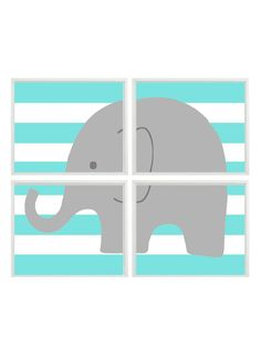 Nursery Art Elephant Print Set - Aqua Turquoise  Stripes Gray Decor - Baby Boy Children Kid room -  Wall Art Home Decor - 4 8x10