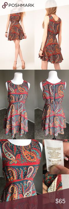 {Free People} Paisley Skater Dress Fun and beautiful paisley print dress by FP. No holes or stains. * No trades* Free People Dresses Mini