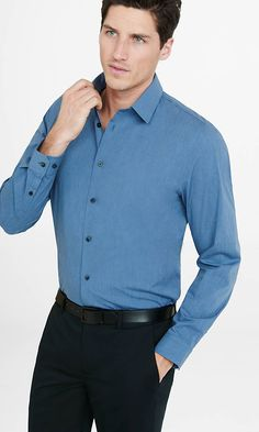 Fitted 1MX Heathered Stretch Cotton Shirt from EXPRESS