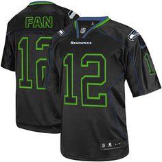 NFL Seattle Seahawks 12th Fan Elite Lights Out Black Men Jersey Nike Nfl 277a4b392