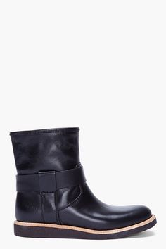 WOMAN BY COMMON PROJECTS Short Black Leather Boots