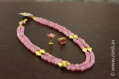 Pink & gold . .Available at Rimli Boutique, T Nagar, Chennai. . #jewellery #necklace #earrings #accessories #semiprecious #beadedjewellery #telugu #pinkearrings #sustainablefashion #indianjewellery #pinknecklace #agate #babypink #dholki #fashionaccessories #traditional #chennai #rimliboutique