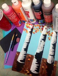 Acrylic painting, fall trees, birch trees, elementary art lessons, middle school art lessons, www.ArtTeacherinLA.com