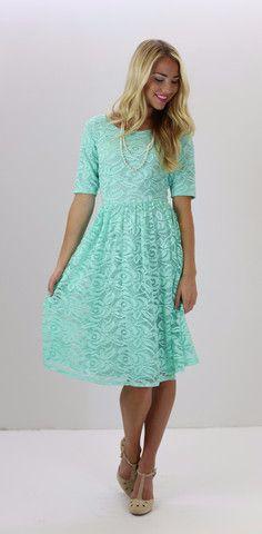 Samantha Dress - Mint - Gorgeous lace knee length classy modest dress from www.ModestPop.com