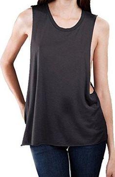 2e9bdaf7636c83 Womens Deep Side Cut Muscle Tank Top - Charcoal   Medium
