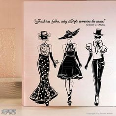 I NEED this in my {future} walk-in closet - putting out into the universe ;-)  -www.These-2-Hands.com-  Wall decal fashion models w/ Coco Chanel quote by decalsmurals, $97.00