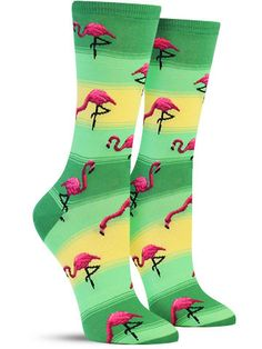 Flamingos Fun Novelty Animal Socks for Women, in Green