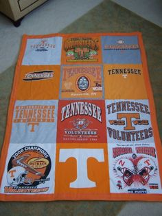 Love this quilt idea.we do have LOTS of UT shirts! But we also have lots of UT blankets. Ut Shirts, College Shirts, Tennessee Girls, East Tennessee, Nashville Tennessee, Tennessee Football, Tennessee Volunteers Football, Vol Nation, Tn Vols