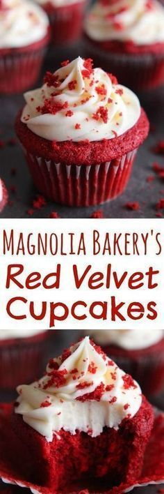 The BEST Red Velvet Cupcakes are a light cake with a beautiful red color and a slight chocolate flavor with a little tang from the buttermilk. They are perfectly moist and topped with cream cheese fro (Baking Desserts Cupcakes) Brownie Desserts, Oreo Dessert, Mini Desserts, No Bake Desserts, Just Desserts, Delicious Desserts, Dessert Recipes, Baking Desserts, Sweets Recipe