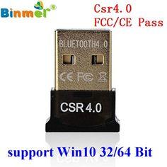 Original Binmer Best USB Bluetooth Dongle 4.0 CSR Dual Mode Wireless Adapters For Windows 10 Laptop PC Good Packge Driver Free