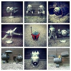Hand crafted Star Wars, Star Trek, Minions, Alien and Judge Dredd wood burners, firepits and BBQs byBarry Wood of Caddyshack Creations.Eco-friendly reconditioned piece's of working art, br…