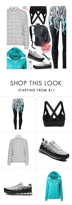 """Sweat Sesh: Gym Style"" by beebeely-look ❤ liked on Polyvore featuring Juvia, NIKE, sporty, sportystyle, gamiss, sweatsesh and gymessentials"