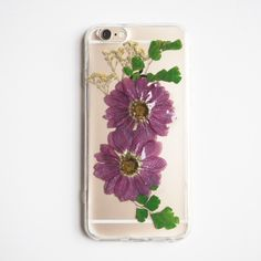 The purple daisy pressed flower bumper phone case - FREE SHIPPING (紫色のデイジー押し花電話ケース)