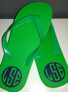 Flip flops with monogram using heat transfer vinyl. I used a heat press at 270 for 10 seconds.