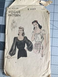 40s-Vogue-Sewing-Pattern-9872-Peasant-Blouse-Bishop-Sleeve-Size-18-Bust-36