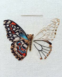 Amazing hand-embroidered art by UK-based artist Humayrah Bint Altaf. Butterfly Embroidery, Embroidery Hoop Art, Beaded Embroidery, Cross Stitch Embroidery, Embroidery Patterns, Embroidered Clothes, Needlework, Sewing, Envy