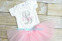 Personalized newborn onesie with tutu pink by SweetAndStitched