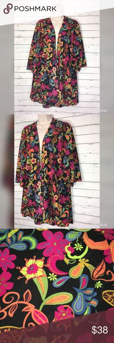 "Lularo Lindsay Floral Kimono Open Front Cardigan Lularo Lindsay Floral Kimono Open Front Cardigan   Beautiful floral print with beautiful colors and like new condition   Measurements  35.5"" long LuLaRoe Sweaters Cardigans"