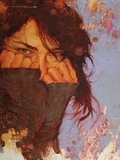 """Shy"" - Joseph Lorusso (American, b. 1966), oil on panel {figurative #impressionist art female head hands grunge woman face portrait orange cropped painting #loveart} josephlorussofineart.com"