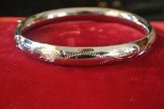 Vintage Etched Sterling Silver Bangle Bracelet by SallyPearlScott