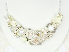 Ivory Bridal Bib Necklace Ivory Wedding Statement by BrassBoheme, $65.00