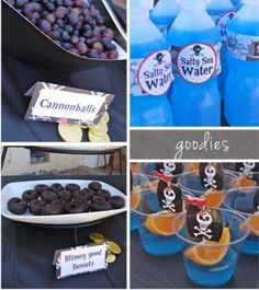 Pirate party food Love the grape cannonballs love the oranges