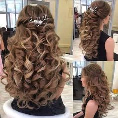 20 Chic Wedding Hairstyles for your perfect look – Hair Styles Sweet 16 Hairstyles, Quince Hairstyles, Super Easy Hairstyles, Wedding Hairstyles For Long Hair, Chic Hairstyles, Creative Hairstyles, Bridal Hairstyles, Curly Wedding Hair, Elegant Wedding Hair