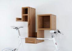 So many nicely designed wall-mounted bike racks.