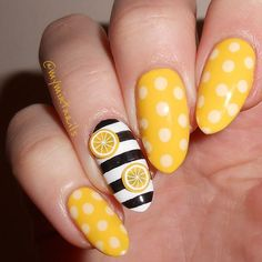 Marvelous Nail Art Ideas For Women To Try Asap - Nail Art is a must have for most woman because woman take every extra steps to ensure that they look good. Beautiful nails play a part in their appear. Fruit Nail Designs, Nail Art Designs, Cute Nails, Pretty Nails, Hair And Nails, My Nails, Lemon Nails, Fruit Nail Art, Yellow Nail Art