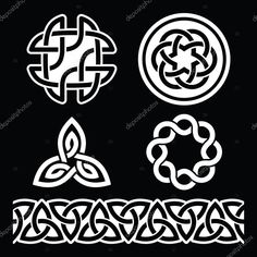 Celtic Irish patterns and knots - vector, St Patrick's Day — Stock Illustration Celtic Symbols, Celtic Art, Eps Vector, Vector Free, Celtic Knot Designs, Irish Celtic, Stencil Patterns, St Patricks Day, Knots
