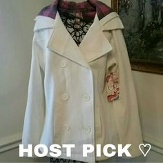 NWT Off white pea coat with a hoodie Super cute Brand New Jacket with a hoodie, adorable big buttons down the front. Jackets & Coats