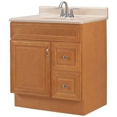 Elite+Raised+Panel+30+in.+W+x+21+in.+D+Vanity+Cabinet+with+Drawers+Right+in+Cinnamon-ME30RHDC-CM+at+The+Home+Depot