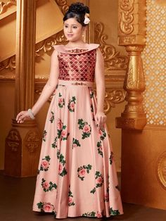 Pink Party Wear Satin Gown, designer gown, girls indian wear, pink color, silk fabric, party wear gown